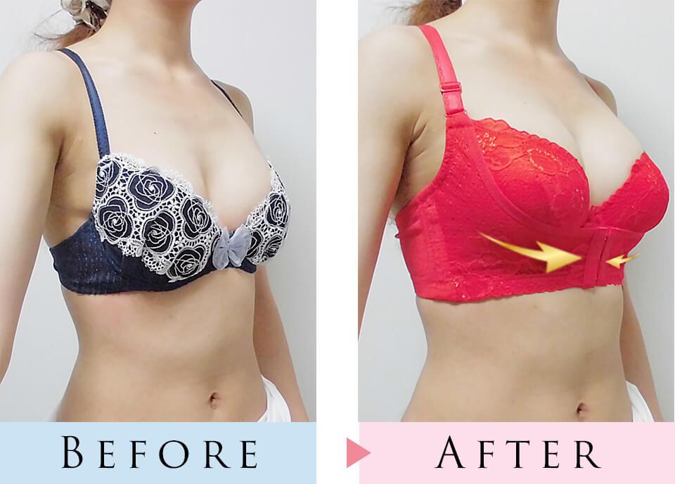 育乳ブラと普通のブラを着用して比較した写真、斜め前から撮影
