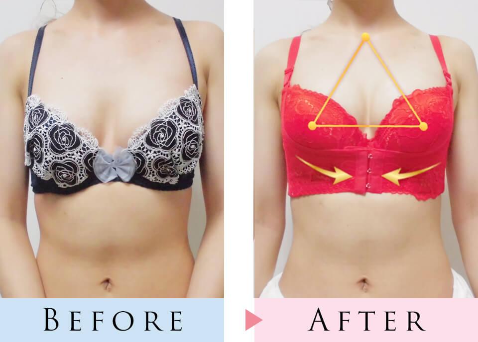 育乳ブラと普通のブラを着用して比較した写真、正面から撮影