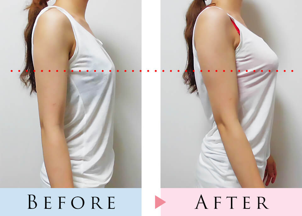 育乳ブラと普通のブラを着用して比較した写真、さらにカットソーを着用した状態で撮影