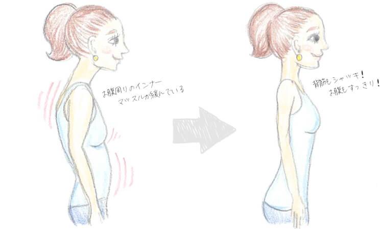 お腹のインナーマッスルが緩んでいる人と緩んでいない人の比較