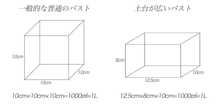 一般的な普通のバストと土台が広いバストの体積を比較